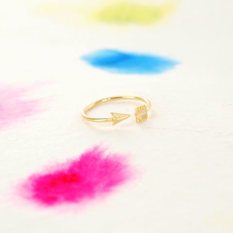 Tiny Arrow Adjustable Wrap Gold Ring - RecocoNYC - 1