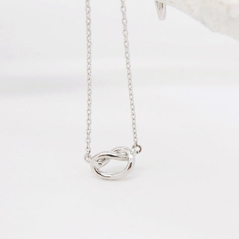 Simple Silver Infinity Knot Necklace - RecocoNYC - 1