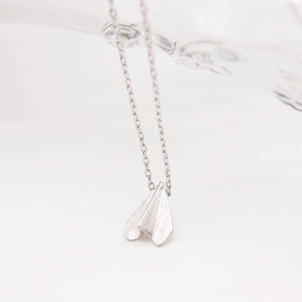 Silver Origami Paper Airplane Necklace - RecocoNYC - 1