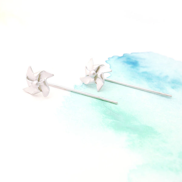 Delicate Silver Origami Pinwheel Windmill Post Earring W Long Post - RecocoNYC - 1