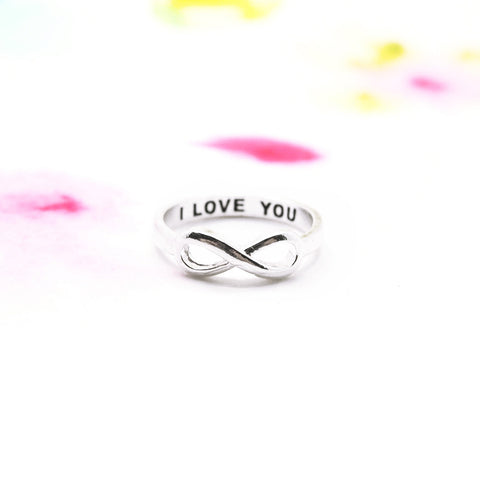 "Silver Infinity ""I love you"" Secret Engraved Message Band Ring - RecocoNYC - 1"