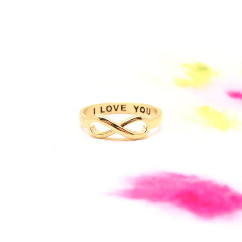 "Gold Infinity ""I love you"" Secret Engraved Message Band Ring - RecocoNYC - 1"