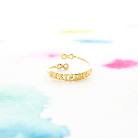Gold Infinity Best Friend Letter Adjustable Ring w Crystals - RecocoNYC - 1