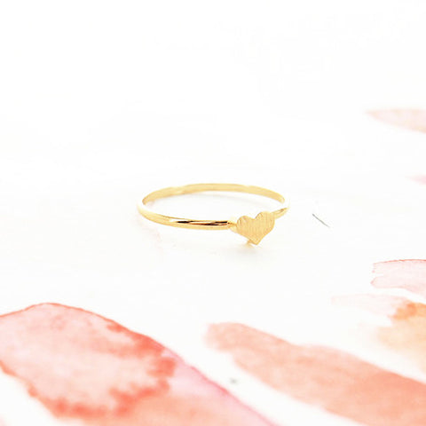 Minimalist Delicate Simple Brushed Gold Heart Thin Band Ring - RecocoNYC - 1