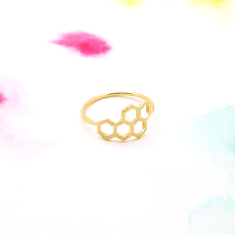 Honey Bee Honeycomb Hexagon Geometric Gold Ring - RecocoNYC - 1