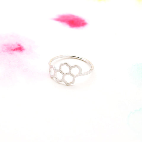 Honey Bee Honeycomb Hexagon Geometric Silver Ring - RecocoNYC - 1