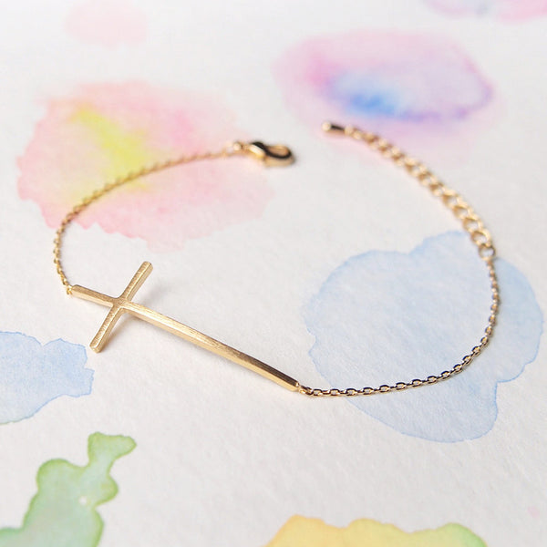 Simple Delicate Sideways Gold Cross Bracelet - RecocoNYC - 1