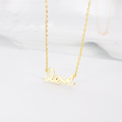 Simple Word LOVE Letter Gold Necklace - RecocoNYC - 1