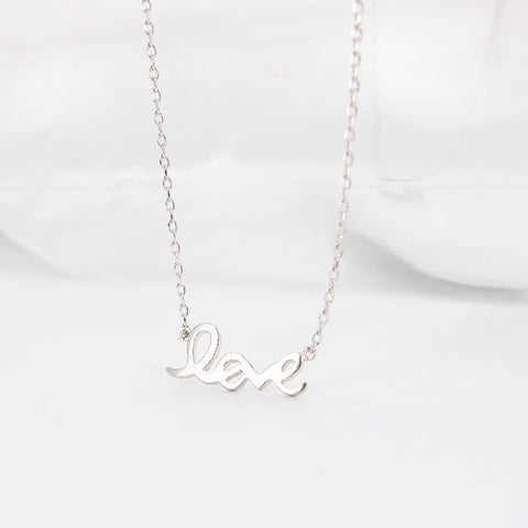 Simple Word LOVE Letter Silver Necklace - RecocoNYC - 1