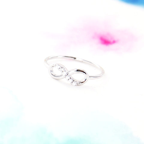 Simple Silver Infinity Ring with Clear Crystals - RecocoNYC - 1