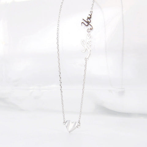 Petite Silver Heart Love Letter Necklace - RecocoNYC - 1