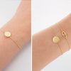 Simple Clean Circle Disc Bracelet in Brushed Gold - RecocoNYC - 5