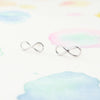 Simple Clean Tiny Infinity Studs Earrings in Silver - RecocoNYC - 1