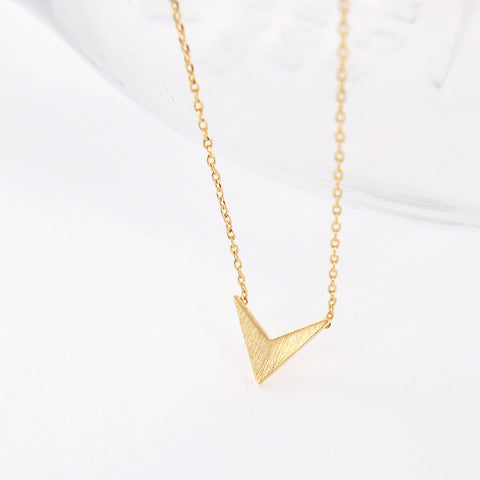 Minimal Brushed Gold Triangle Arrow Tip Chevron Necklace - RecocoNYC - 1