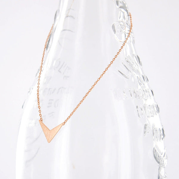 Minimal Rose Gold Triangle Arrow Tip Chevron Necklace - RecocoNYC - 1