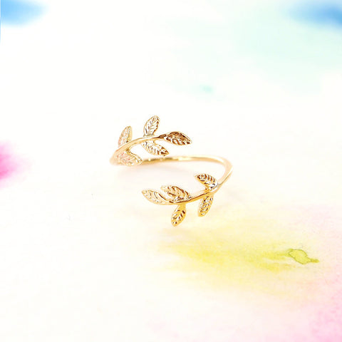 Delicate Adjustable Wrap Gold Leaf Ring - RecocoNYC - 1