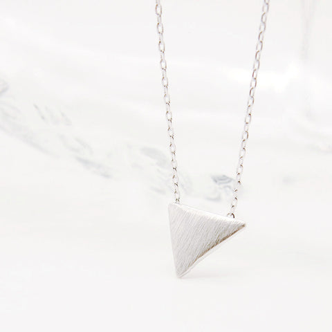 Simple Brushed Silver Triangle Charm Layering Chain Necklace - RecocoNYC - 1