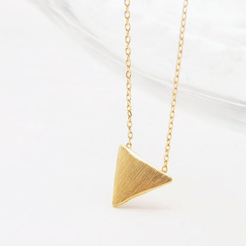 Simple Gold Triangle Charm Layering Chain Necklace - RecocoNYC - 1