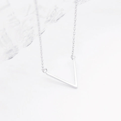 Brushed Silver Chevron V Triangle Charm Necklace - RecocoNYC - 1