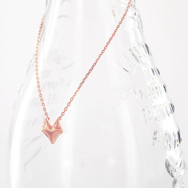 Cute Dainty Pink Rose Gold Fox Necklace - RecocoNYC - 1