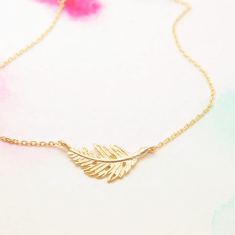 Dainty Natural Leaf Feather Gold Bracelet - RecocoNYC - 1