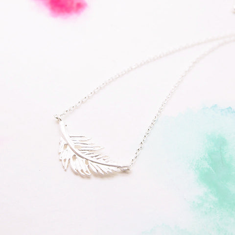 Dainty Natural Leaf Feather Silver Bracelet - RecocoNYC - 1