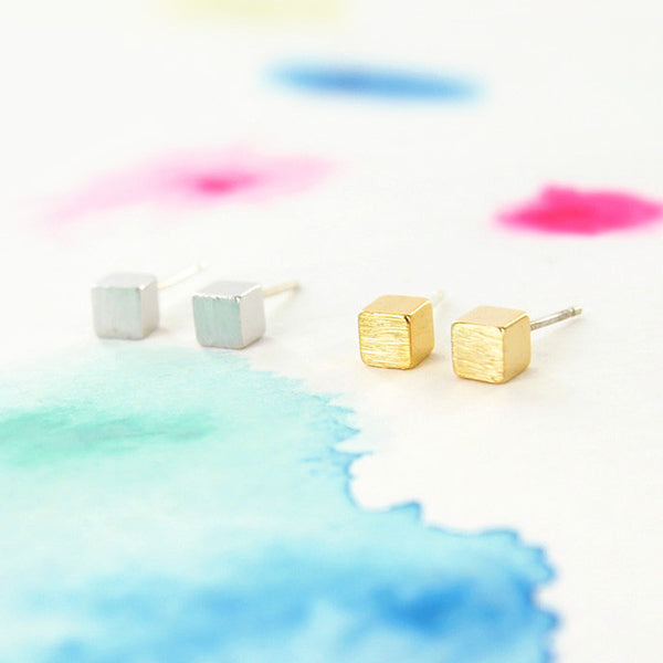 Delicate Tiny Square Cube Post Earrings in Silver / Gold - RecocoNYC - 1