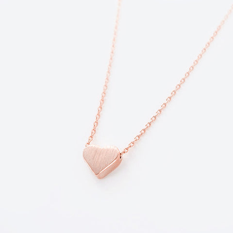 Dainty Simple Brushed Pink Rose Gold Heart Necklace - RecocoNYC - 1