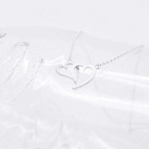 Double Eternity Silver Heart Infinity Necklace - RecocoNYC - 1