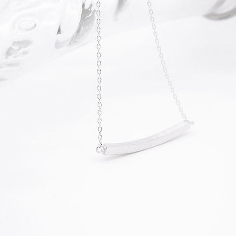 Minimal Silver Rectangle Slim Curved bar Bar Necklace - RecocoNYC - 1