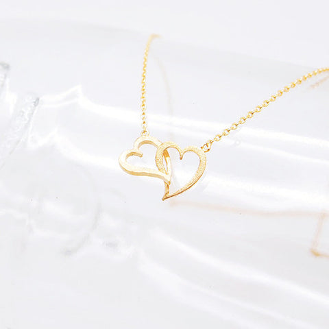 Double Eternity Gold Heart Infinity Necklace - RecocoNYC - 1