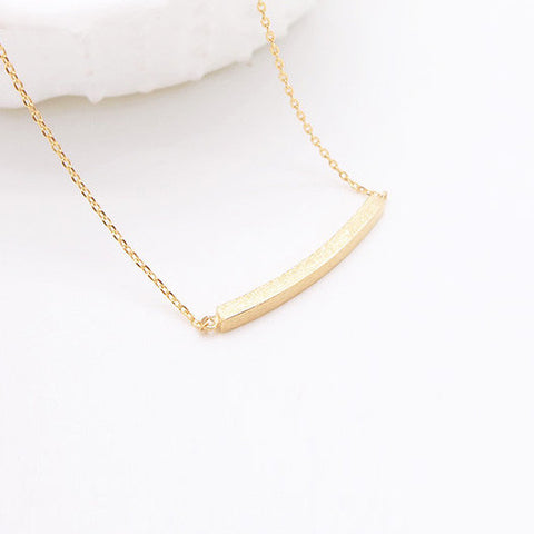 Minimal Gold Curved Slim Bar Necklace - RecocoNYC - 1