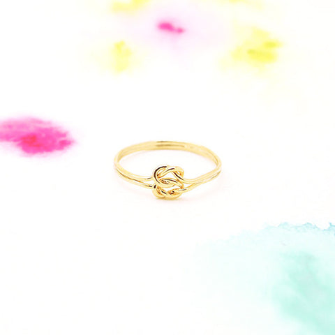 Dainty Infinity Double Knot Ring in Gold - RecocoNYC - 1