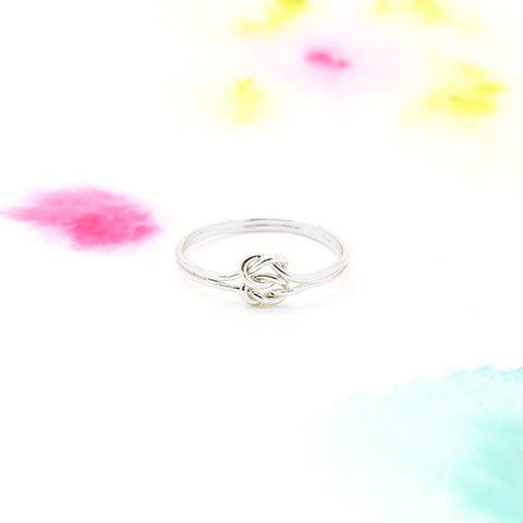 Dainty Double Infinity Knot Ring in Silver - RecocoNYC - 1