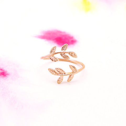 Delicate Adjustable Wrap Rosegold Leaf Ring - RecocoNYC - 1