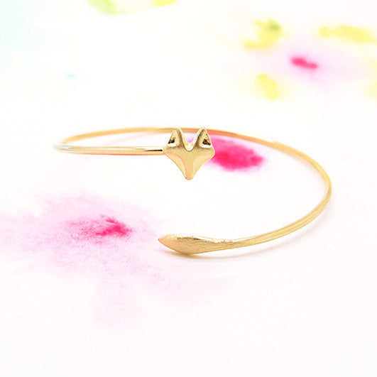 Adjustable Wrapping Gold Fox Bangle Bracelet - RecocoNYC - 1