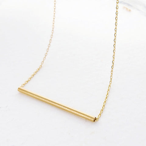 Simple Minimalist Gold Tube Bar Necklace - RecocoNYC - 1