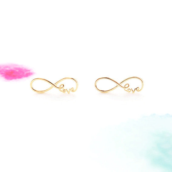Gold Infinity Love Script Letter Post Stud Earrings - RecocoNYC - 1