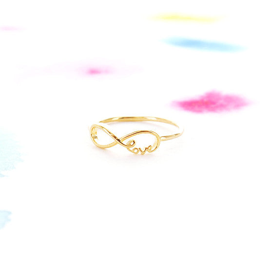 Simple Gold Infinity Love script Letter Thin Band Ring - RecocoNYC - 1