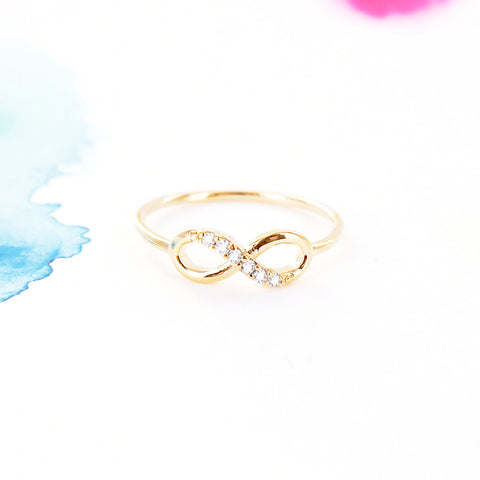 Simple Gold Infinity Ring with Clear Crystals - RecocoNYC - 1