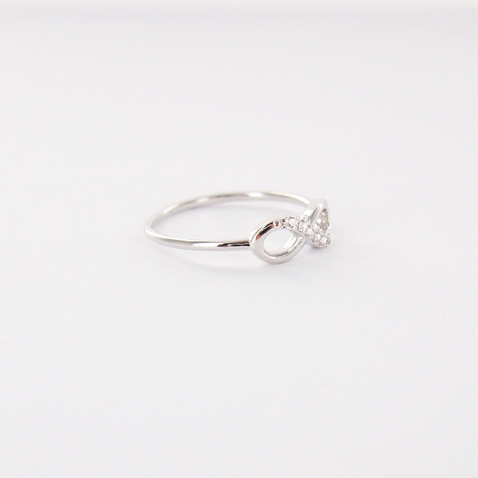 Simple Silver Infinity Ring with Clear Crystals   RecocoNYC