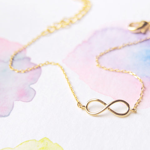 Gold Plated Delicate Tiny Infinity Bracelet - RecocoNYC - 1