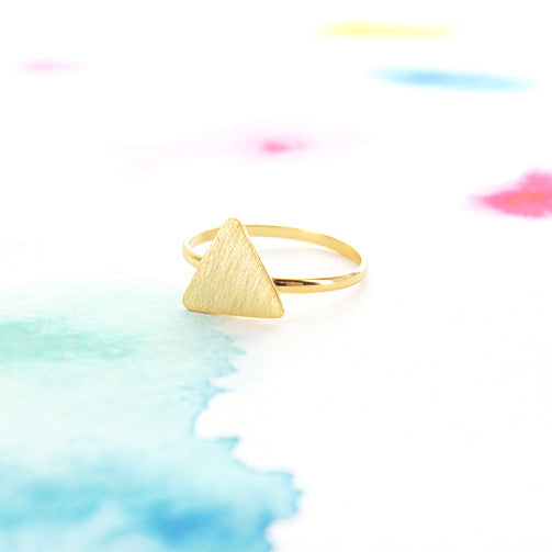 Clean Minimal Brushed Flat Gold Triangle Adjustable Ring - RecocoNYC - 1