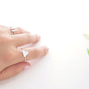 Clean Minimal Silver Triangle Adjustable Ring - RecocoNYC - 5