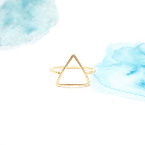Delicate Minimal Gold Triangle Ring - RecocoNYC - 1