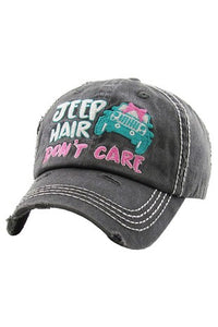 Jeep Hair Don't Care Washed Vintage Ballcap