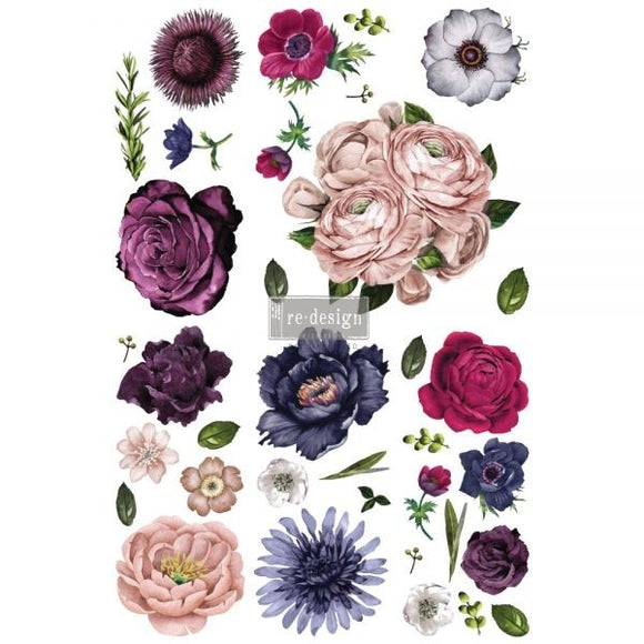 LUSH FLORAL II – 6 SHEETS, DESIGN SIZE 44″ X 30″- REDESIGN DÉCOR TRANSFERS®