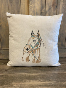 Horse Embroidered Throw Pillow