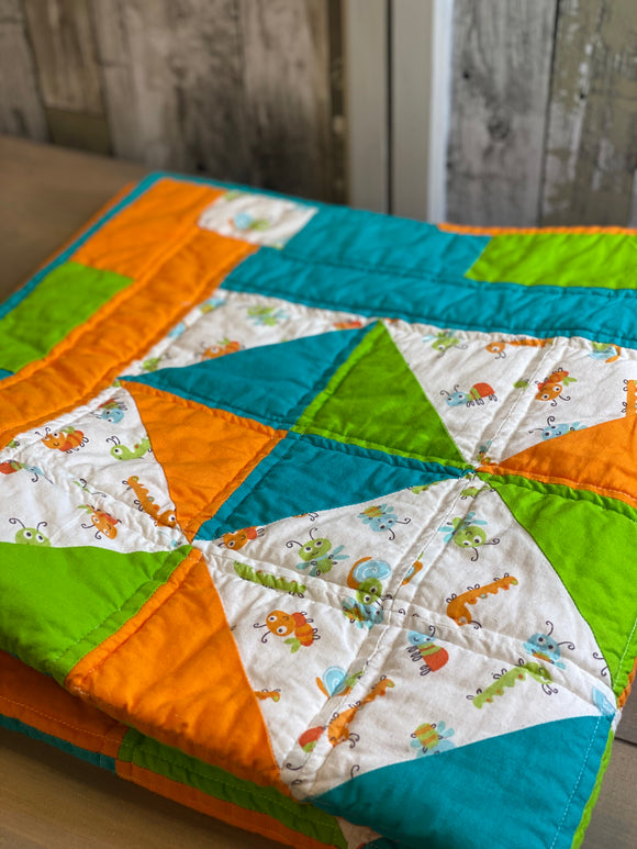 Blue, Green & Orange Bug Quilt
