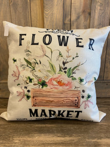Fresh Flower Market Throw Pillow